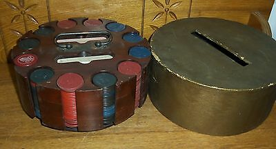 Old Rack Loaded Up w/ 323 Clay Poker Chips Airplanes Crowns Dogs Stop Monkeying