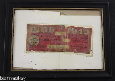 1943 Vintage Original OHIO License Plate Sticker 1936 Plymouth