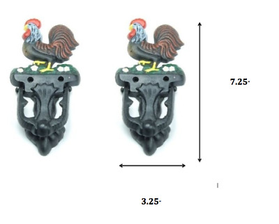 Lot of 2 Casting Rooster Country Farm Chicken Rustic Door Knockers Knocker Set