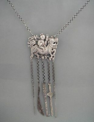 Old Chinese Sterling Silver Carved kirin figure Shape Pendant