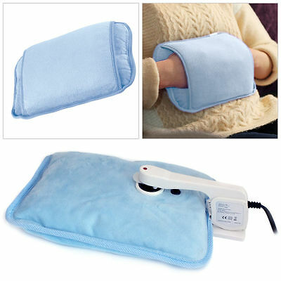 Blue Rechargeable Electric Hot Water Bottle Bed Hand Warmer Massaging Heat Pad