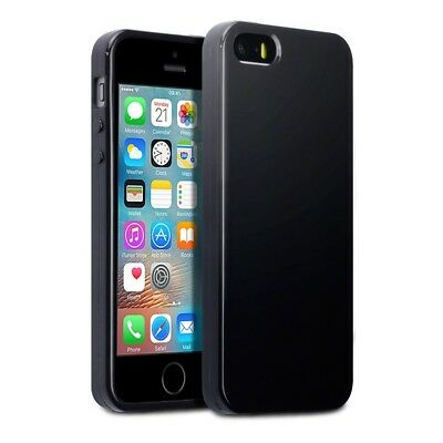 TPU Gel Silicone Rubber Soft Thin Jelly Case Solid Black Apple iPhone SE/5/5S