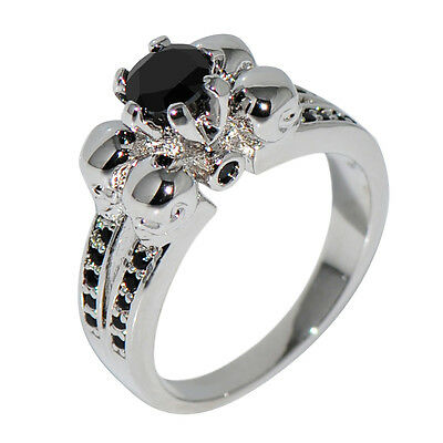 Silver Skull Black CZ Wedding Ring 10KT White Gold Filled Punk Jewelry Size5-10