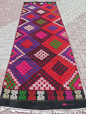 "Anatolian Turkish Antalya Kilim Runner 41,7""x 126,3"" Area Rug Runner Carpet Wool"