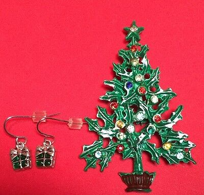 Vintage Christmas Tree Enamel Brooch & Earring Set Antique Pin Rhinestones Xmas