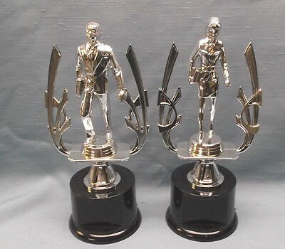 pair of sales business trophies award male female silver black round base