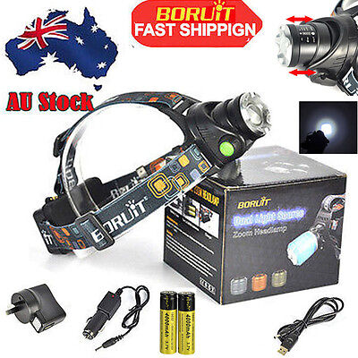 7000LM Zoomable XM-L T6 LED 18650 HeadLamp 3Mode USB Head Torch Light+3*Charger