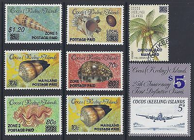 1990-1991 COCOS ISLANDS PROVISIONAL OVERPRINTS COMPLETE SET OF 8 MNH/CTO ref A