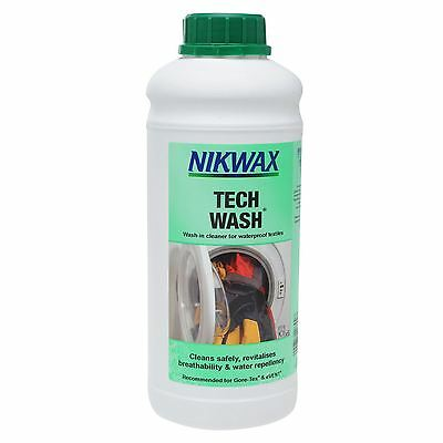 Nikwax Tech Wash 1 Litre Liquid Cleaner Textile Clothing Waterproofing Aftercare