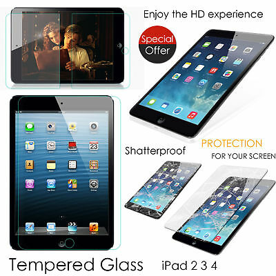Latest 9H GENUINE TEMPERED GLASS FILM LCD SCREEN PROTECTOR FOR APPLE IPAD 2 3 4