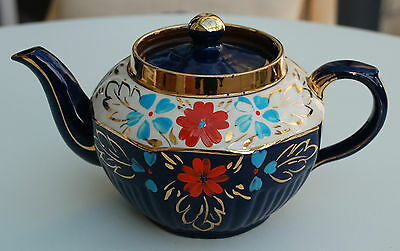 Vintage Arthur Wood Teapot with Hand Painted Floral Pattern