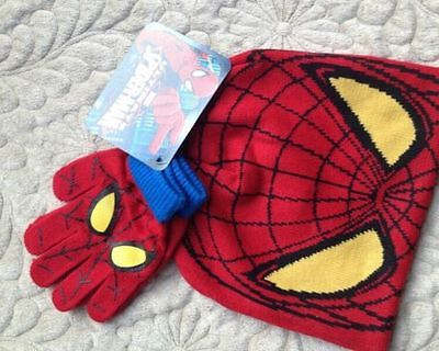 Lot Spider-man knit beanie hat lovely children winter knitted hat and gloves Set