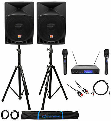 "Rockville Powered Dual 15"" ipad/iphone/Android/Laptop/TV Karaoke Machine/System"