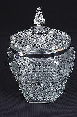 Wexford Anchor Hocking Clear Glass Ice Bucket With Lid & Chrome Handle 10 1/2""