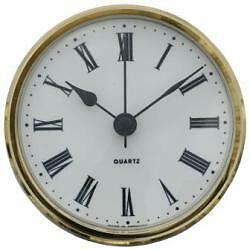 102mm Clock Suitable for Caravans Motorhomes and Boats White Roman brass bezel