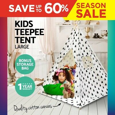 Large Kids Teepee Tent Cotton Canvas Children Home Pretend Play Outdoor Indoor