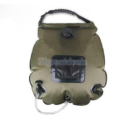20L Canvas Solar Shower Water Bag Pouch Camping Hiking Portable Spray Pipe