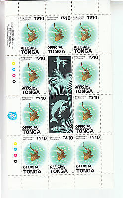 Tonga 1988 $10 Shark Mini Sheet Official Opt Cv Around £85..... Reduced To Clear