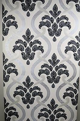 Glitter Wallpaper Black Silver Grey White Textured Vinyl Damask Paste to Wall
