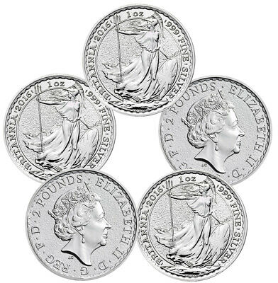 2016 1 oz Silver British Britannia Coins - 5 oz Total .999 fine (BU, Lot of 5)