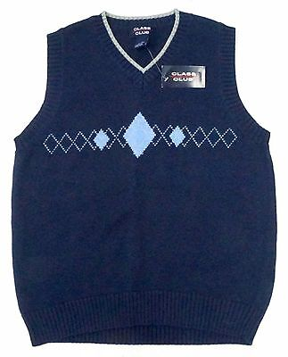 NWT Class Club Blue with Argyle Sweater Vest Boys 12 / 14 V Neck 100% Cotton New
