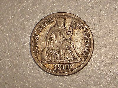 1890 Seated Liberty Dime (Abt. VF & Attractive)