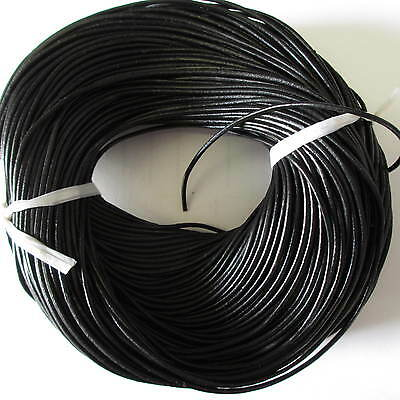 5 Meters Black Round Real Leather 2.00mm Cord Thong for Crafts Jewellery