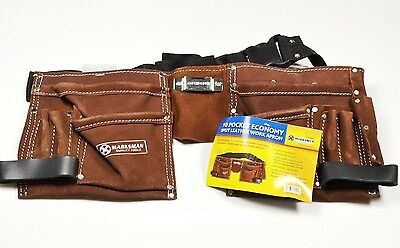 10 POCKET LEATHER TOOL BELT Apron Pouch Holder Nail Bag Builders Storage Work