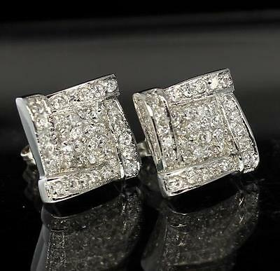 Iced Out 13mm Silver Tone CZ Studs Bling Hip Hop Prong Set Earrings