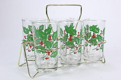 6 Holly By Indiana Flat Tumblers In Goldtone Metal Carrier Christmas Barware Set