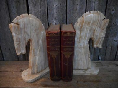Vintage Pair Cut Marble Chess Horse Knight Book Ends Stunning