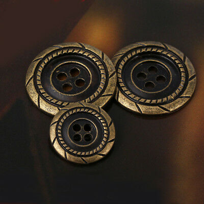 12pcs Bronze Metal 4 Holes Round Sewing Coat Suit Buttons 13 15 18 21 25 mm