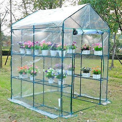 Portable Mini Walk-In Greenhouse 8 Shelves Plant Flower Gardening Green House
