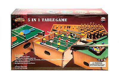 5 in 1 Table Game Foosball Table Tennis Chess Backgammon Pool 3 years+ Real Wood
