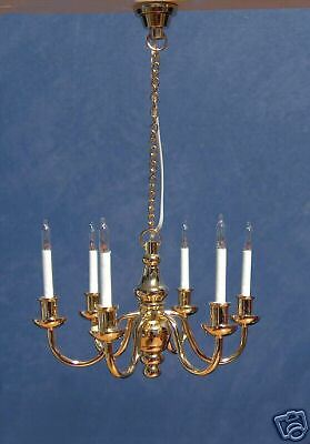 1/12 scale, Dolls House Light Six Arm Deluxe Brass Chandelier Miniature Lamp LGW