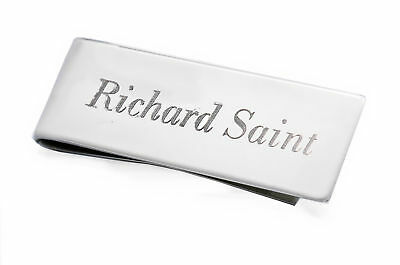 Personalised Silver Plated Money Clip, Christmas Gift Engraved With Any Name