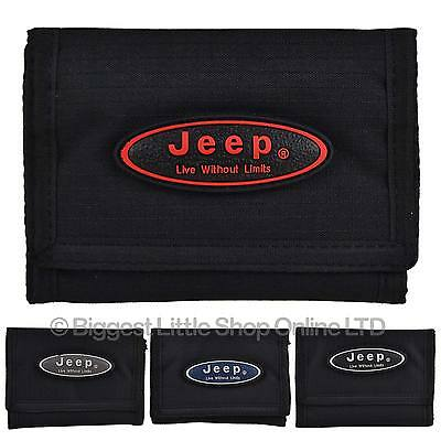 NEW Mens Boys JEEP Canvas Tri-Fold Sports WALLET Black Strong Tough