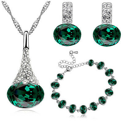 Emerald Green Christmas Jewellery Set Earrings Bracelet Necklace Pendant S839
