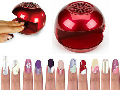 Red Portable Nail Varnish Polish Blow Dryer Fan Quick Easy Dry Manicure Pedicure