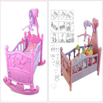 Rocking Baby Doll Pink/Purple Cradle Crib Bed Cot Girls Toy accessories xmas