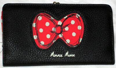 Disney Parks Minnie Mouse Polka Dot Bow Red Black Clutch Wallet Ladies - NEW