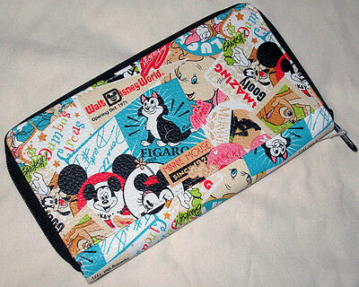 Disney Parks Mickey Mouse WDW Collage Print Zip Up Wallet - NEW
