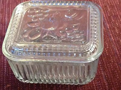 Vintage Clear Glass Refrigerator Dish Fruit Design Lid Mid Century Ribbed Clear