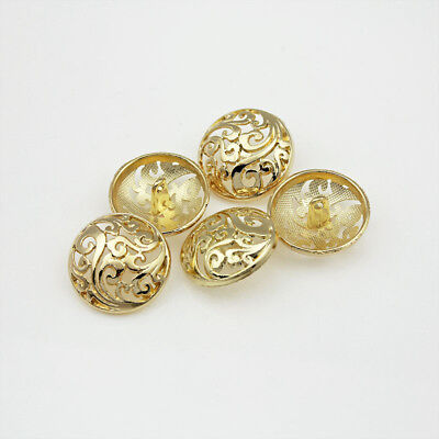 12PCS New Pierced Upscale Metal Round Shank Buttons Coat Sewing Embellishment