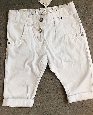 NEXT- WHITE COTTON CROPPED TROUSERS - AGE 4y BNWT