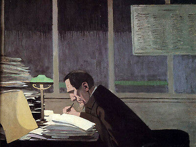 Oil painting Félix Vallotton - Felix Feneon at the Revue Blanche man by table
