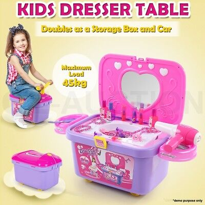 Kids Girl's Make Up Vanity Dresser Table Play Set Toy Storage Box & Ride On Car