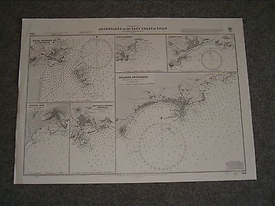 Vintage Admiralty Chart 1391 ANCHORAGES ON THE EAST COAST OF SPAIN 1890 edn