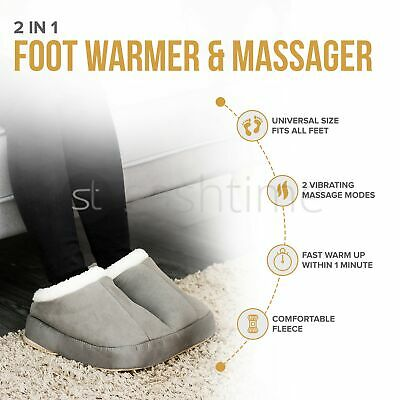 2In1 Electric Heated Comfort Fleece Sooth Comfy Relaxing Foot Massager Warmer