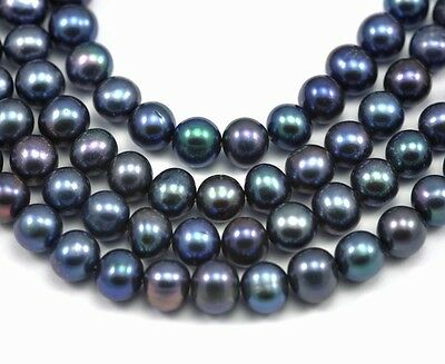 Dark Peacock Blue Near Round Freshwater Pearls Beads A for Jewellery Making